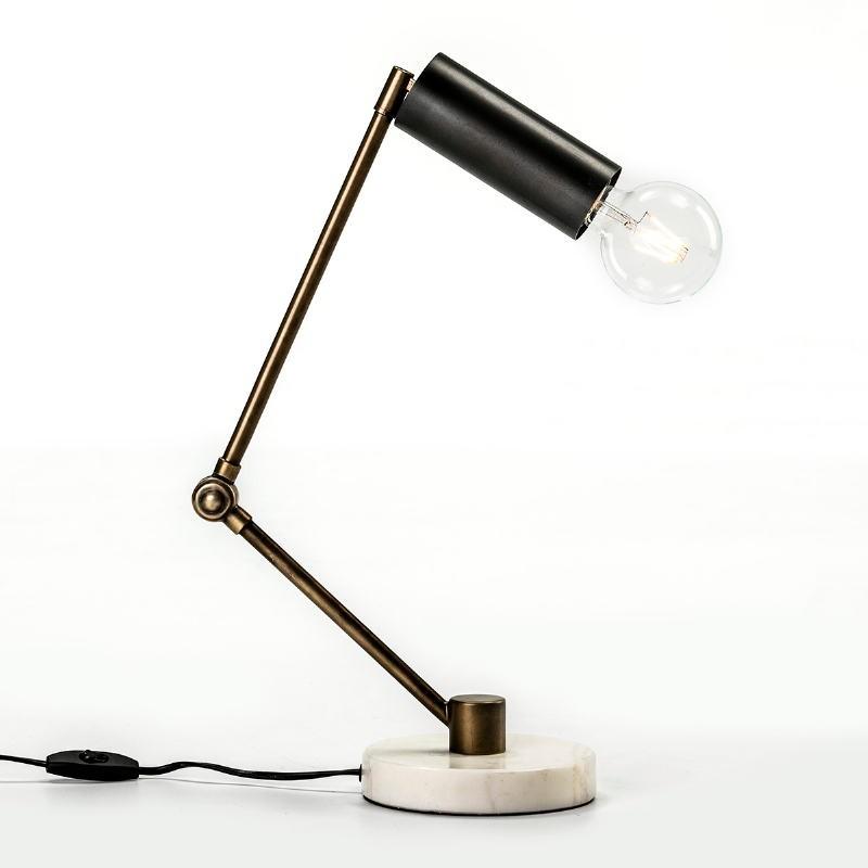Tischlampe 42X15X34 Marmor/Metall Weiß/Golden/Schwarz - image 52984
