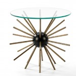 Auxiliary Table 55X62 Glass Metal Black Golden