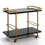 Table roulante, desserte 91x51x81 Granit Noir Métal Doré