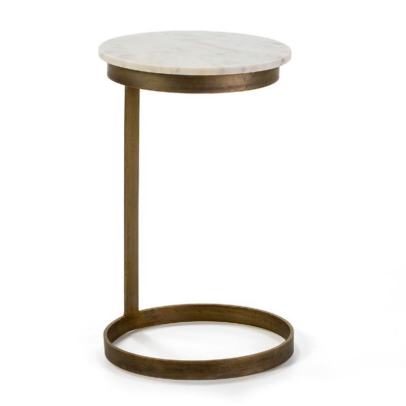 Table d'appoint, bout de canapé 40x65 Métal Doré Marbre Blanc