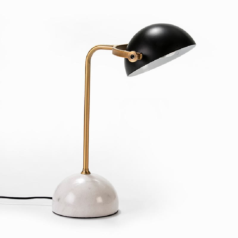 Table Lamp With Lampshade 36X25X48 Marble White Metal Golden Black