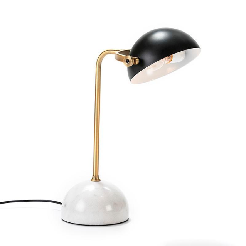 Lampe de Table avec abat-jour 36x25x48 Marbre Blanc Métal Doré Noir - image 53017