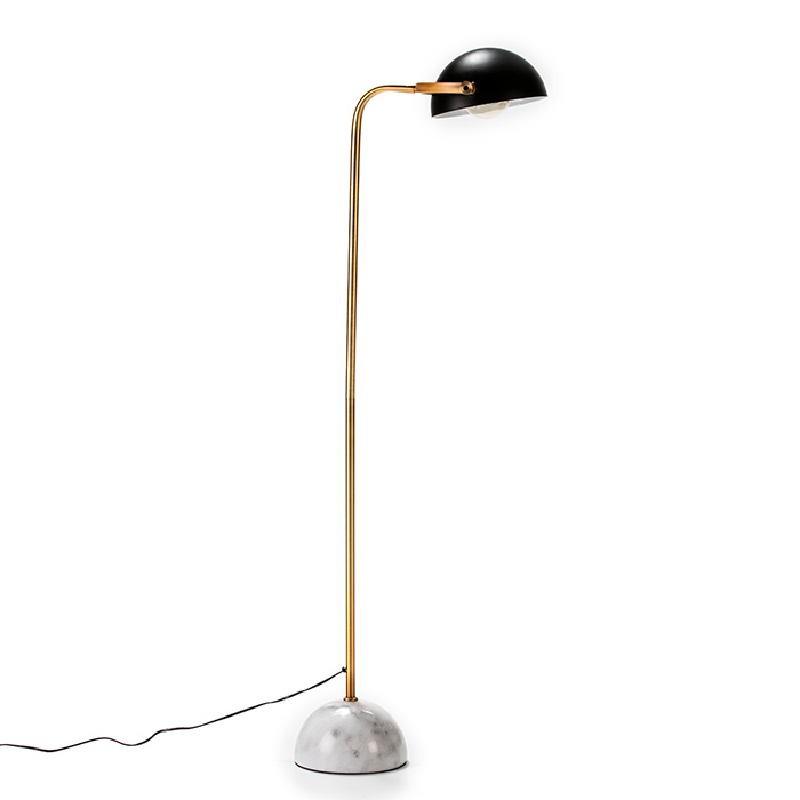 Stehleuchte Mit Display 32X38X145 Marmor/Metall Weiß/Golden/Schwarz