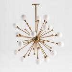 Lampada A Sospensione Con Paralume 70X113 Vetro Bianco Metallo Dorato