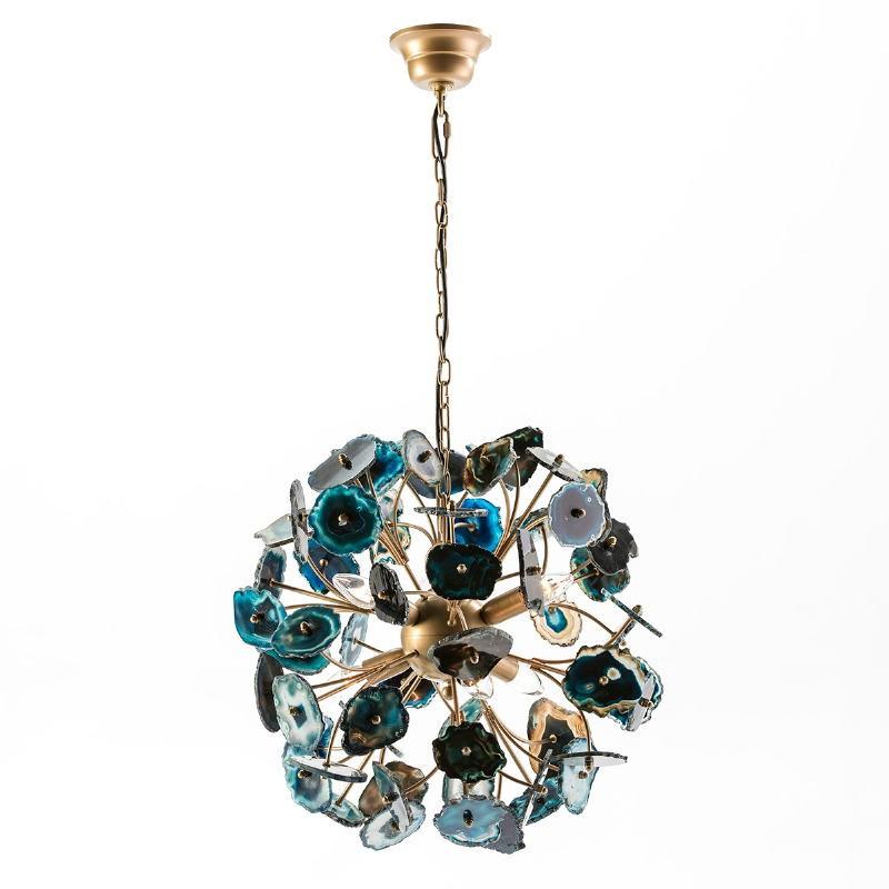 Lampe suspendue 55x55x55 Métal Doré Agate Bleu