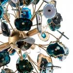 Hängelampe 55X55X55 Metall/Achat Golden/Blau