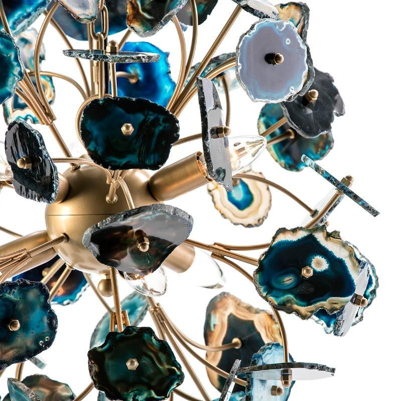Lampe suspendue 55x55x55 Métal Doré Agate Bleu - image 53039
