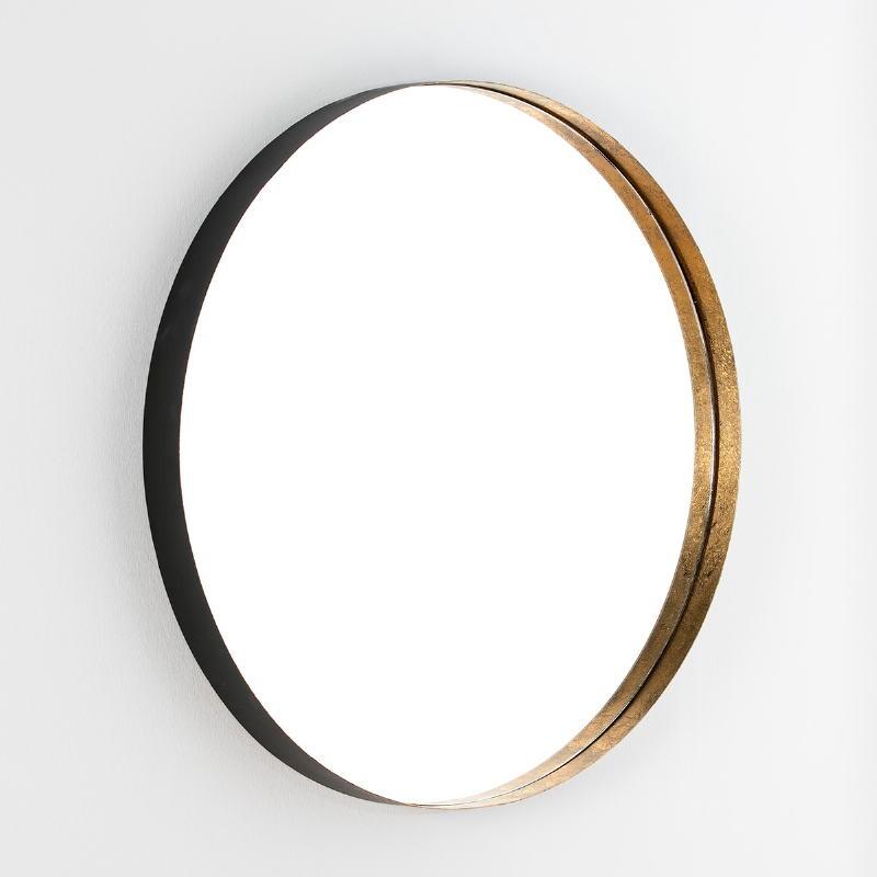 Espejo 90X6X90 Cristal Metal Pan De Oro Negro