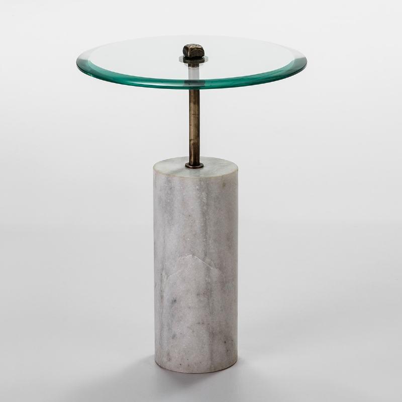 Hilfstisch 39X39X57 Glas/Metall/Marmor Weiß