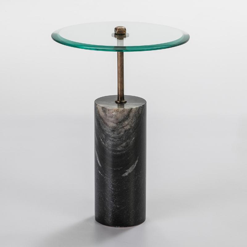 Hilfstisch 39X39X57 Glas/Metall/Marmor Schwarz