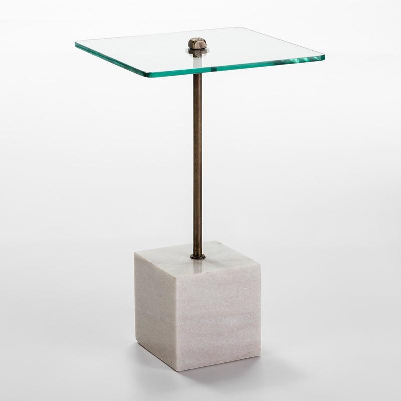 Table d'appoint, bout de canapé 40x40x66 Verre Métal Marbre Blanc