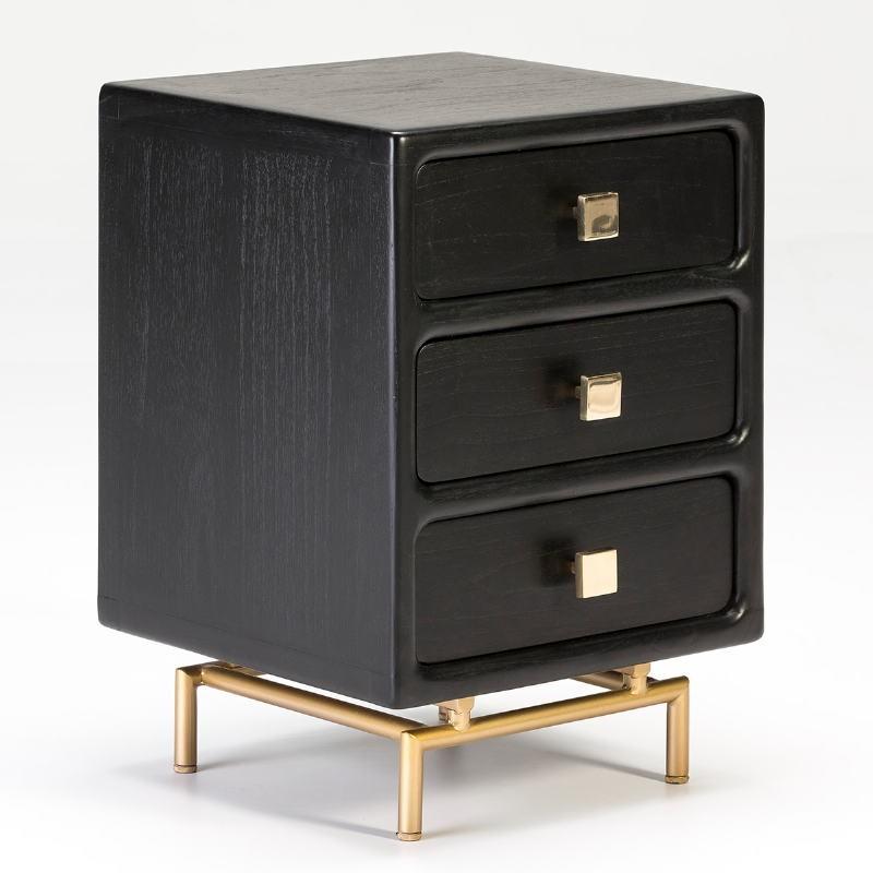 Bedside Table 3 Drawers 42X40X60 Metal Golden Wood Black