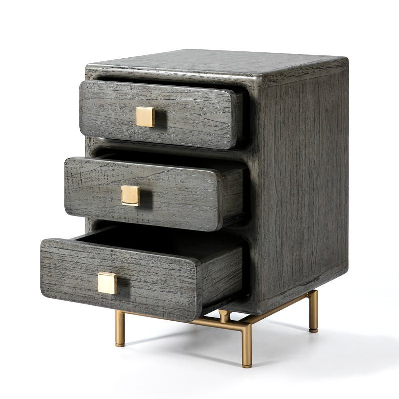 Bedside Table 3 Drawers 42X40X60 Metal Golden Wood Grey - image 53076