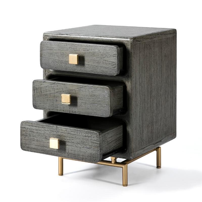 Table de chevet 3 tiroirs 42x40x60 Métal Doré Bois Gris - image 53076