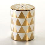 Hocker 33X33X43 Keramik Golden/Weiß