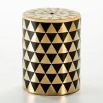 Sgabello 33X33X43 Ceramica Dorato Nero