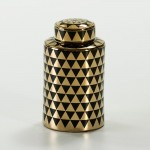 Earthenware Jar 18X18X31 Ceramic Golden Black