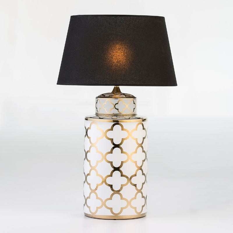 Table Lamp Without Lampshade 23X23X51 Ceramic White Golden - image 53088