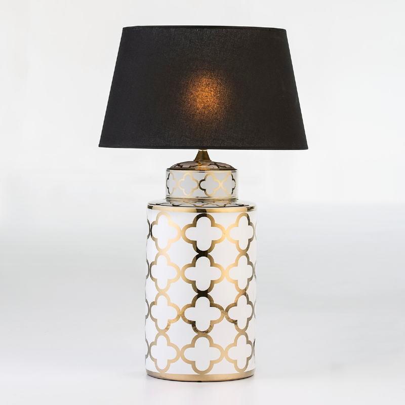 Lampe de Table sans abat-jour 23x23x51 Céramique Blanc Doré - image 53088