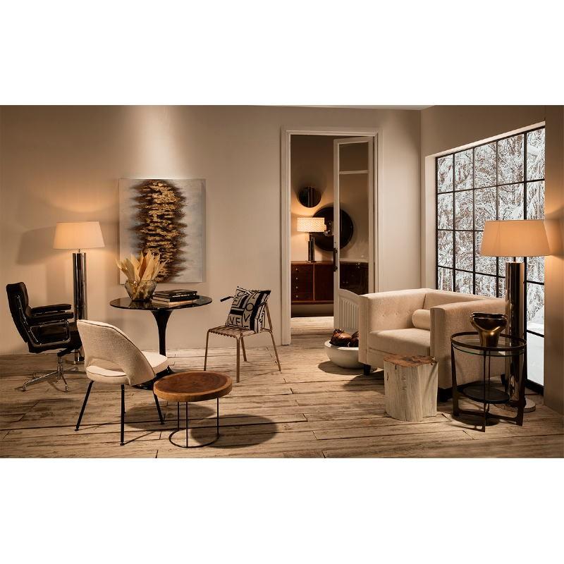 Chaise 54x58x80 Métal Noir tissu Blanc Cassé - image 53102