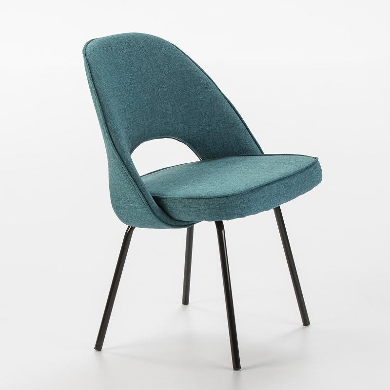 Chaise 54x58x80 Métal Noir tissu Bleu - image 53104