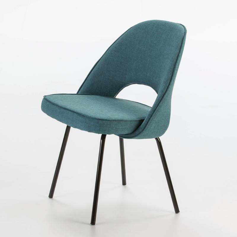 Chaise 54x58x80 Métal Noir tissu Bleu - image 53105
