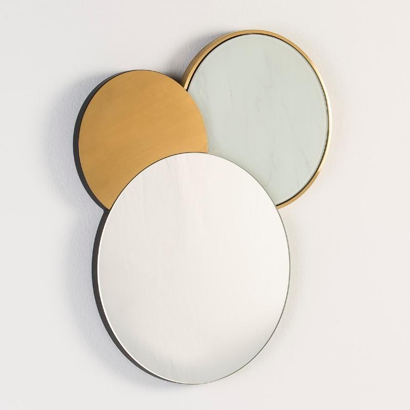 Mirror 54X3X65 Glass False Marble Metal Golden