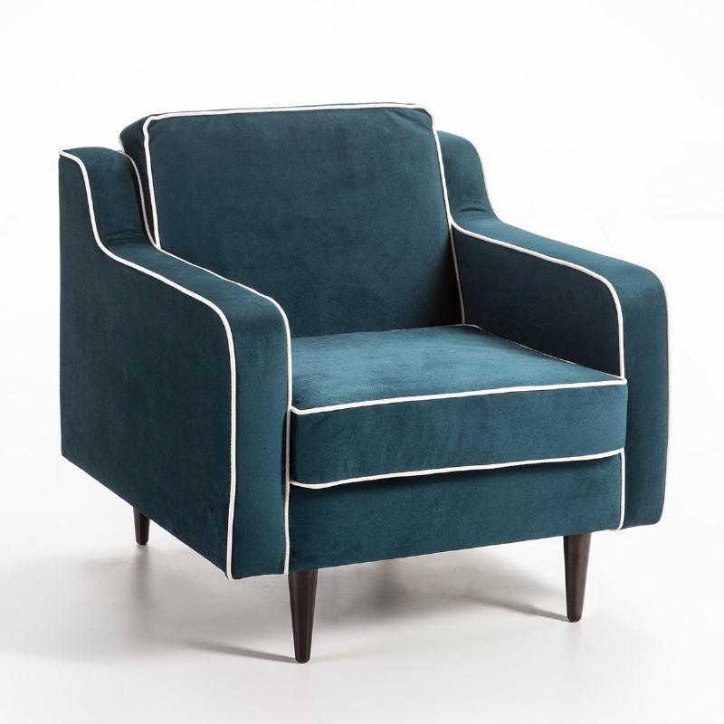 Fauteuil 86x91x88 tissu bleu Modèle 2
