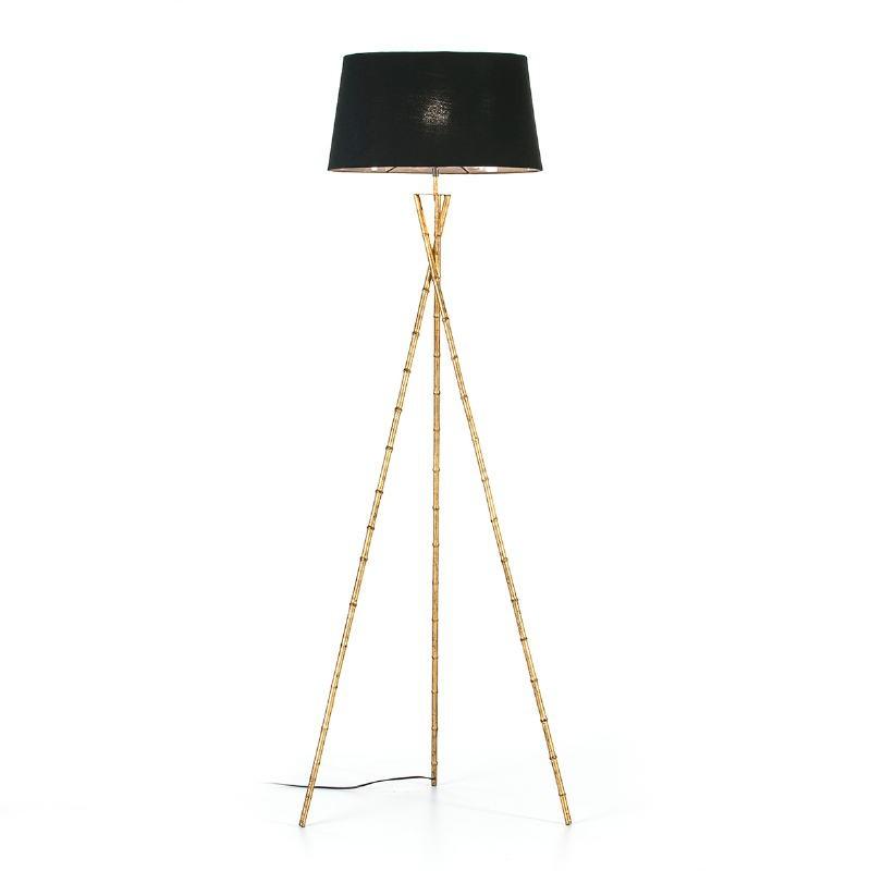 Lampadaire 60x60x180 Métal Doré avec abat-jour Noir - image 53151