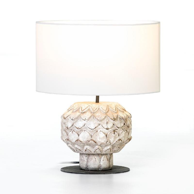 Lampe de Table 20x20x43 Métal Bois Blanc avec abat-jour Blanc