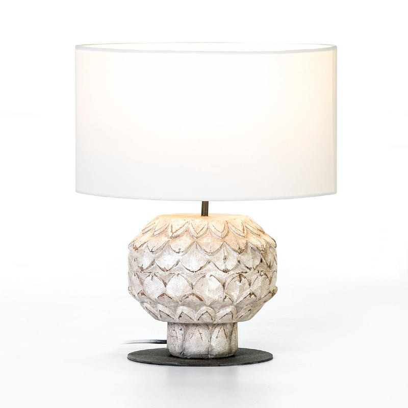 Table Lamp 20X20X43 Metal Wood White With Lampshade White