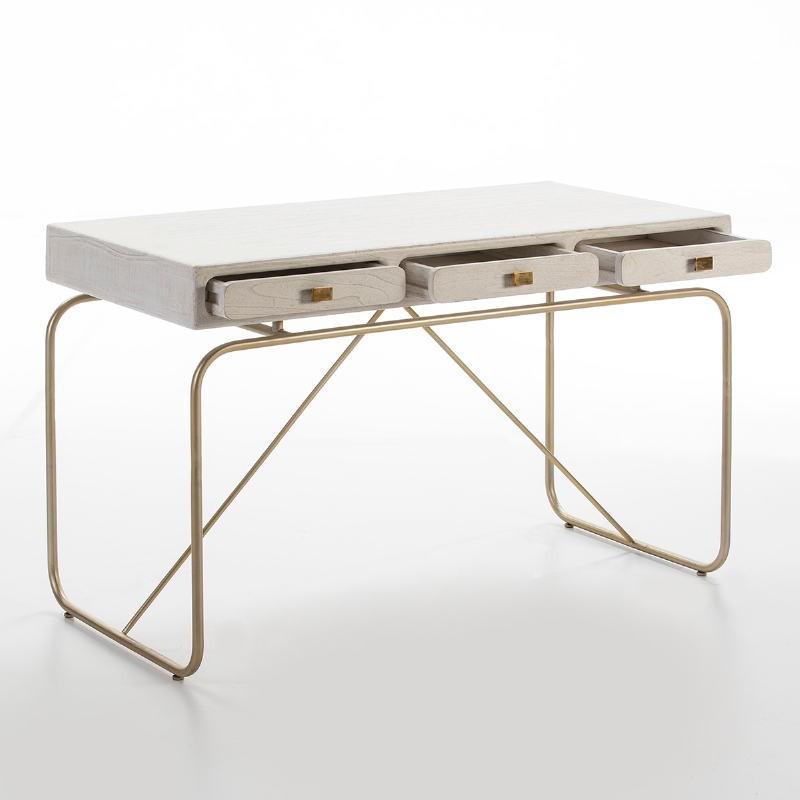 Desk 120X60X76 Metal Golden Wood Grey - image 53178