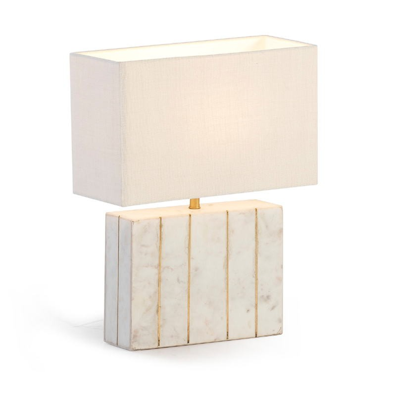 Table Lamp With Lampshade 27X8X29 Marble White Metal Golden