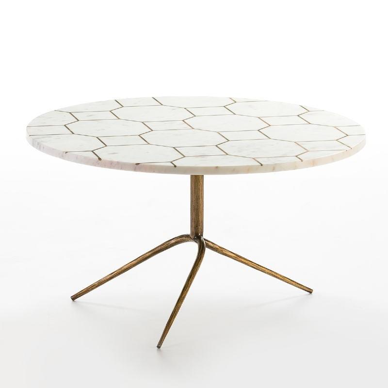 Table basse 82x82x44 Métal Doré Marbre Blanc