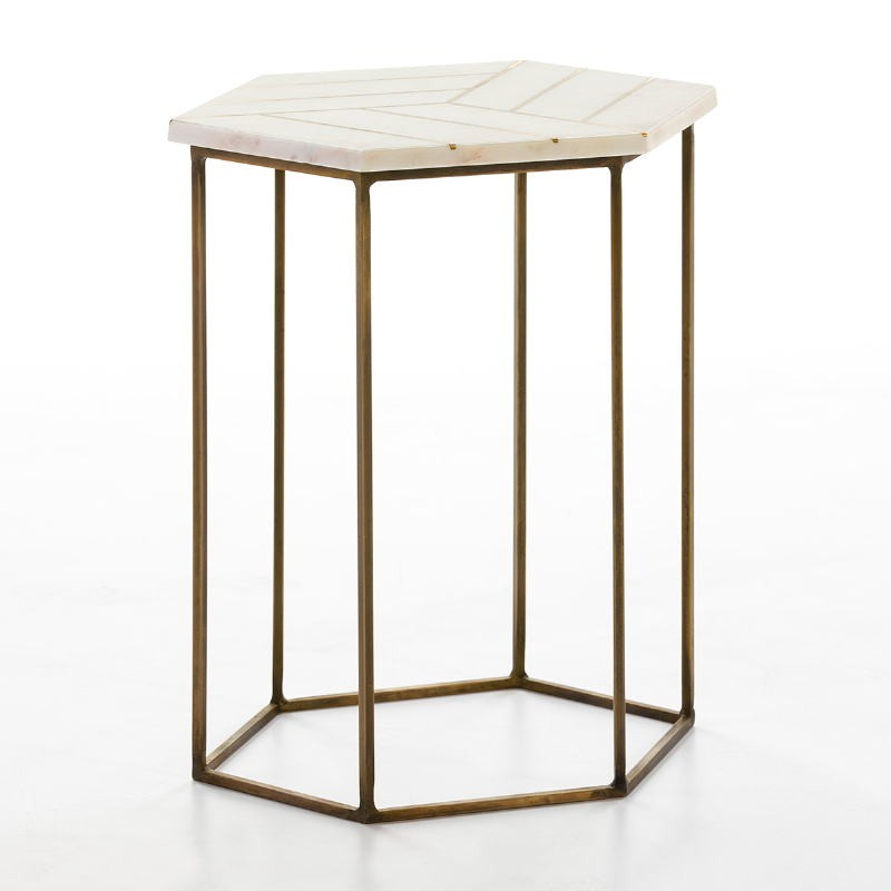 Side Table 44X44X58 Metal Golden Marble White - image 53204