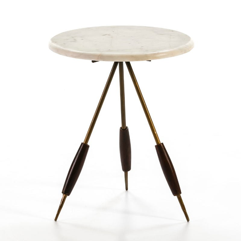 Side Table 38X38X46 Metal Golden Marble White