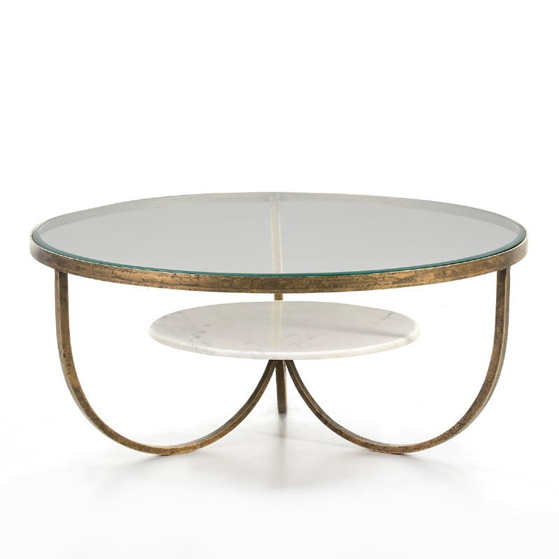 Coffee Table 92X92X40 Glass Metal Golden Marble White