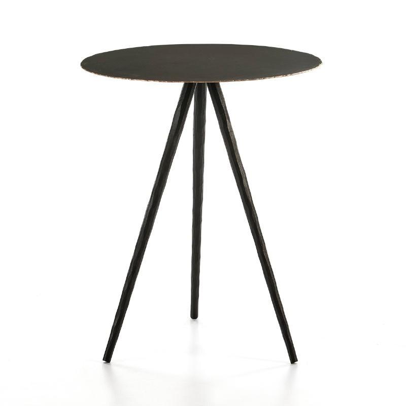 Table d'appoint, bout de canapé 46x46x57 Métal Noir