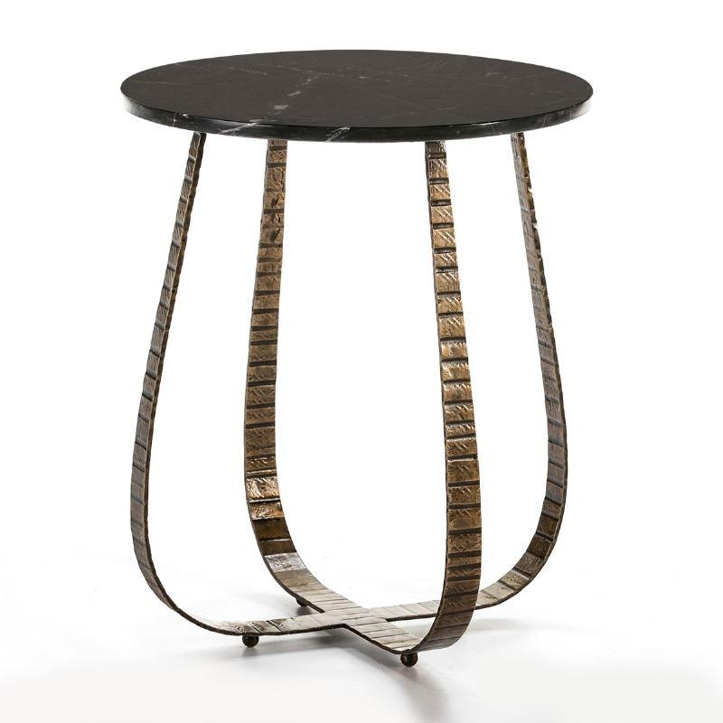 Table d'appoint, bout de canapé 50x50x62 Marbre Noir Métal Doré