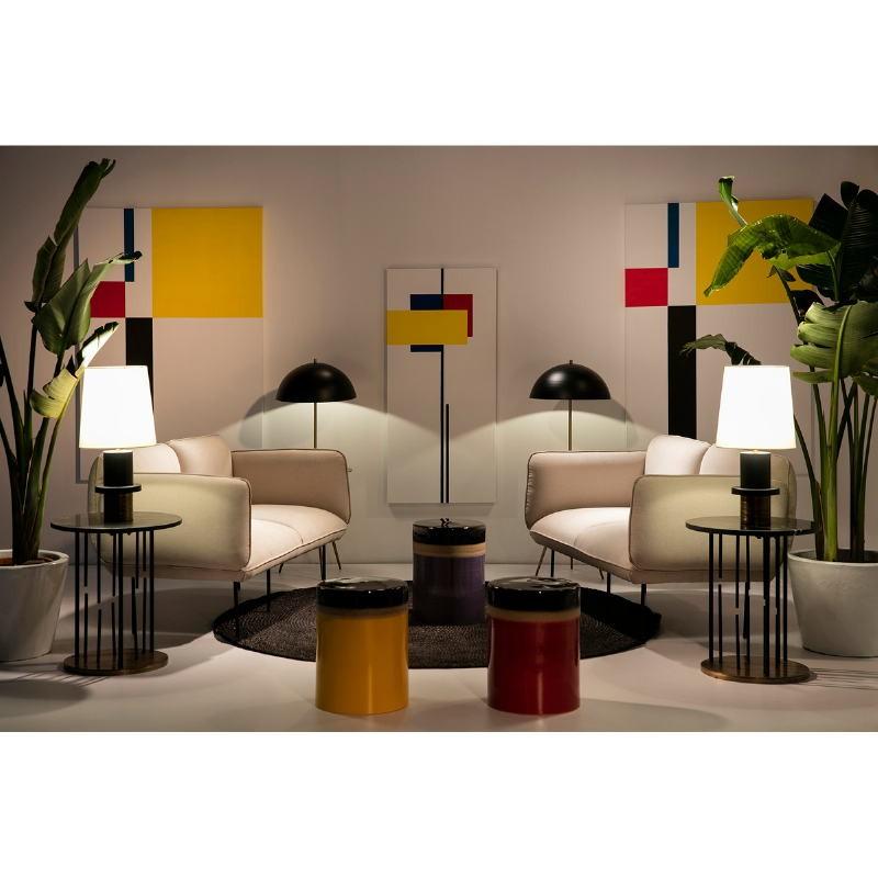 Table d'appoint, bout de canapé 51x51x58 Marbre Noir Métal Doré Noir - image 53231