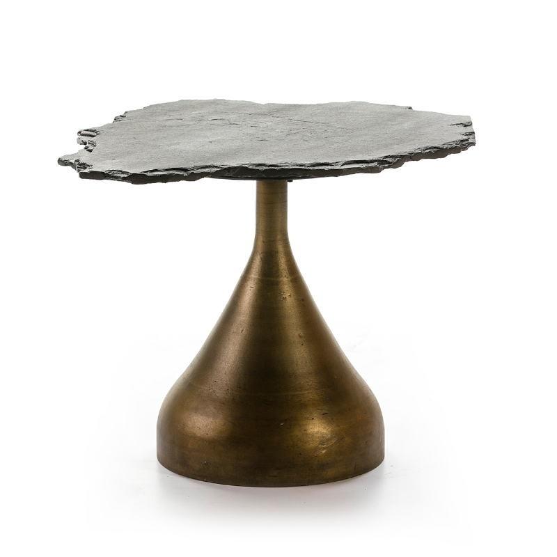 Side Table 60X60X50 Metal Golden Stone Black