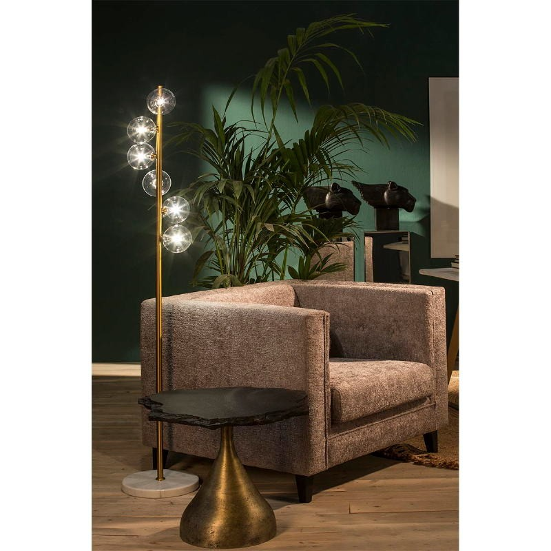 Side Table 60X60X50 Metal Golden Stone Black - image 53233
