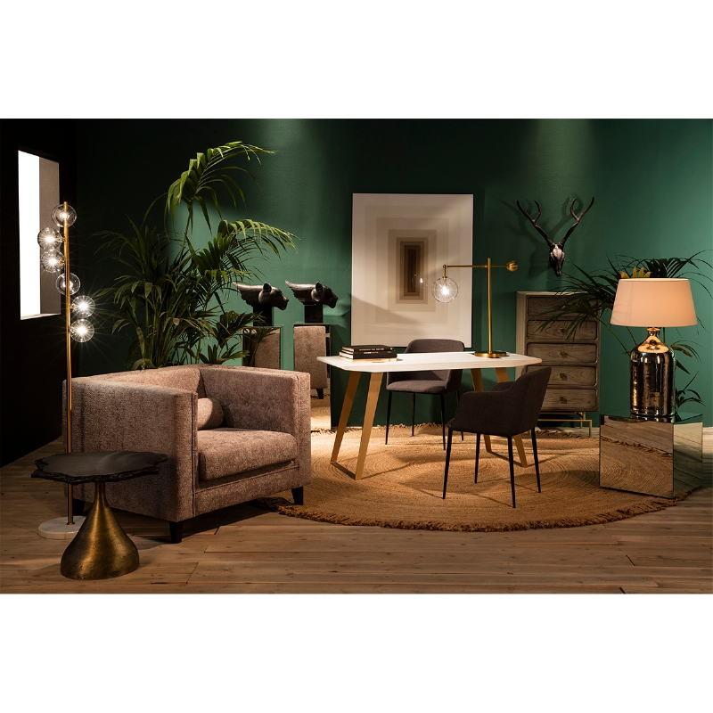 Table d'appoint, bout de canapé 60x60x50 Métal Doré Pierre Noir - image 53234