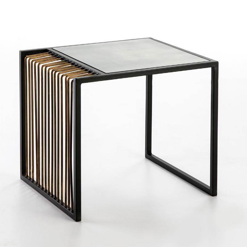 Table d'appoint, bout de canapé 56x48x51 Miroir Vieilli Métal Doré Noir