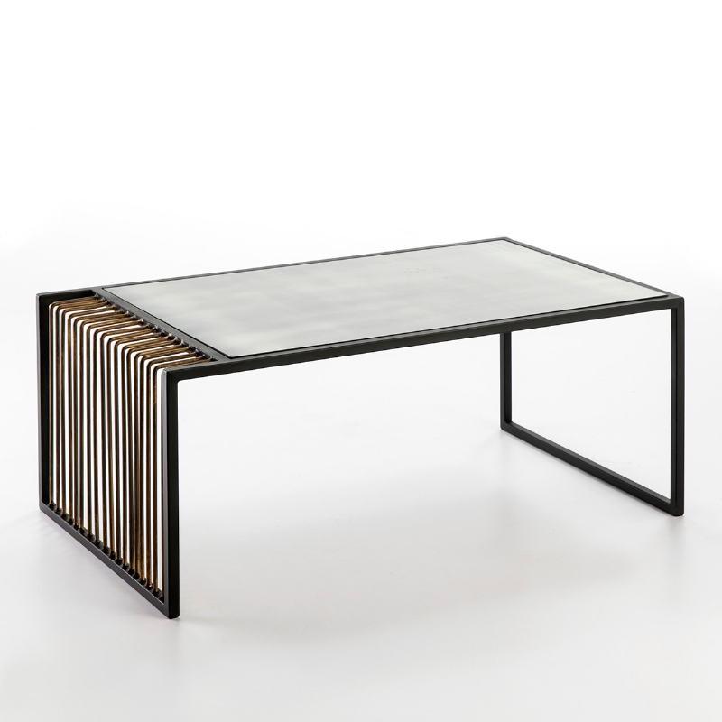 Table basse 104x61x43 Miroir Vieilli Métal Doré Noir - image 53239