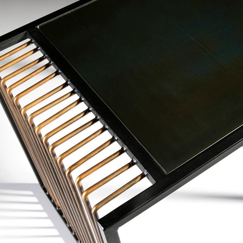 Table basse 104x61x43 Miroir Vieilli Métal Doré Noir - image 53240