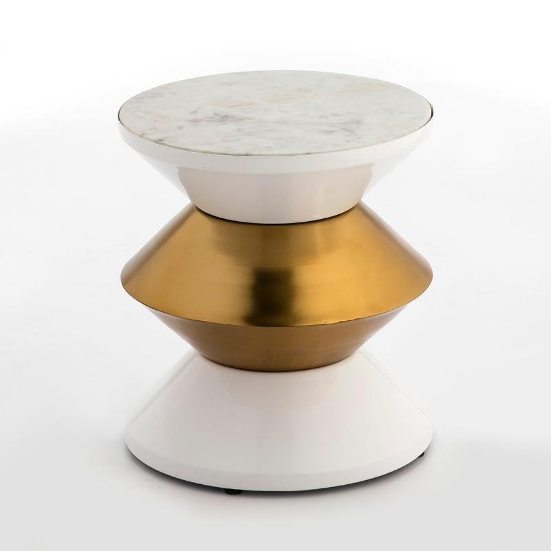 Table d'appoint, bout de canapé 36x36x39 Marbre Blanc Métal Blanc Doré