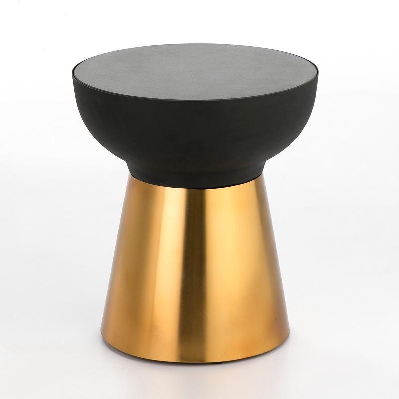Hilfstisch 40X40X43 Granit/Metall Golden/Schwarz