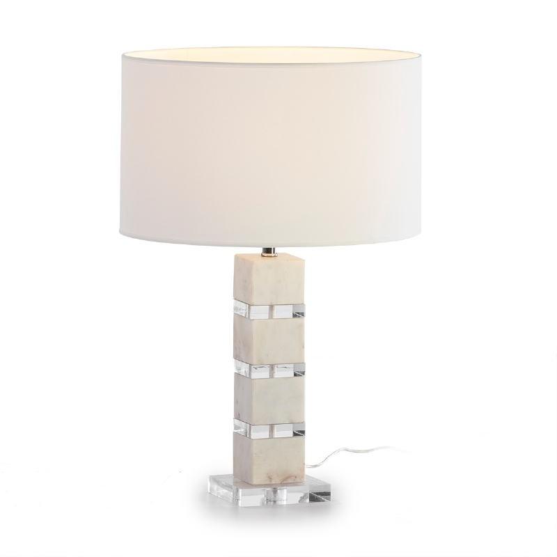 Lampe de Table sans abat-jour 13x13x38 Acrylique Marbre Blanc - image 53255