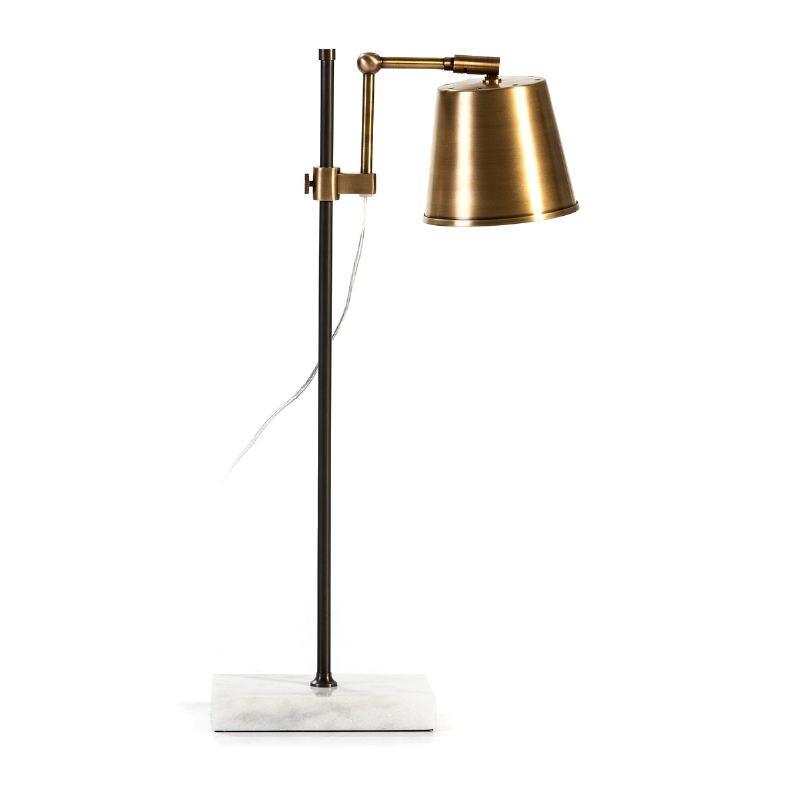 Lampe de Table 32x14x71 Marbre Blanc Métal Doré Noir